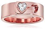 Michael Kors Rose Gold Tone Heart Lock Ring, Size 7
