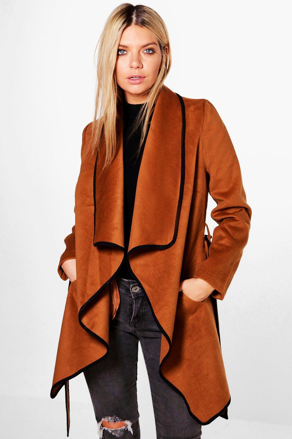 Emily Waterfall Belted Wool Coat