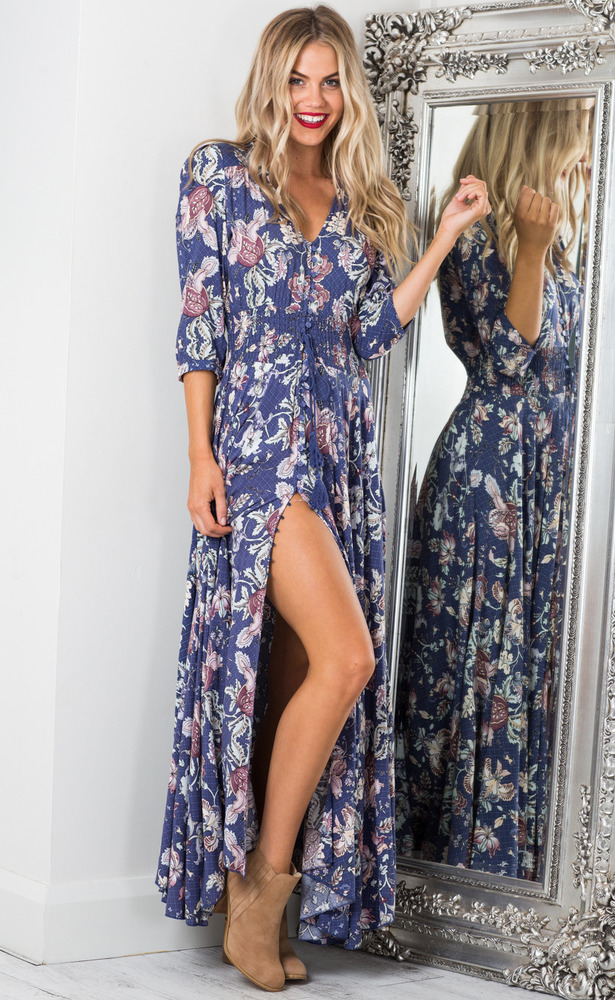 Lone Traveller maxi dress in indigo floral
