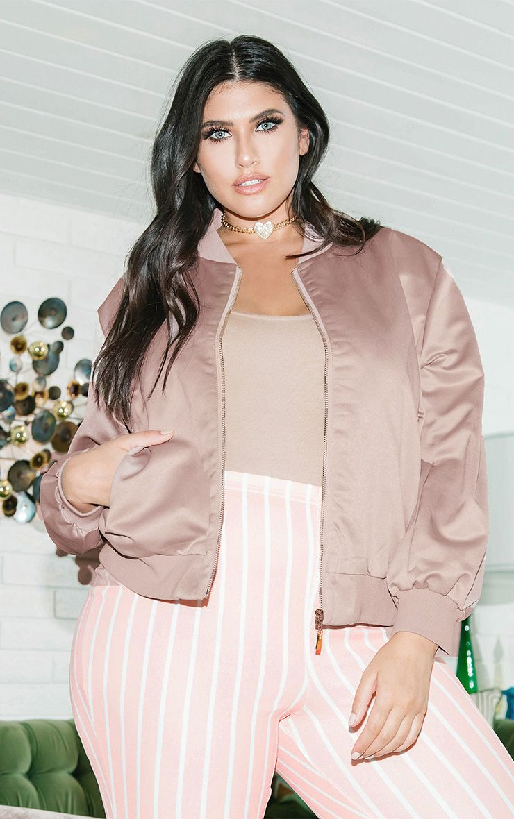 Plus Blush Satin Bomber Jacket
