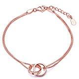 Infinite U Women's Interlocking Rings Charm Bracelet 925 Sterling Silver Cubic Zirconia,Adjustable, Rose Gold