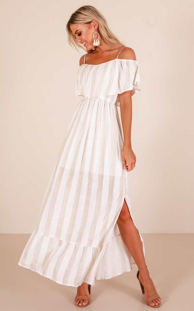 Im so Into You Maxi dress in mocha stripe