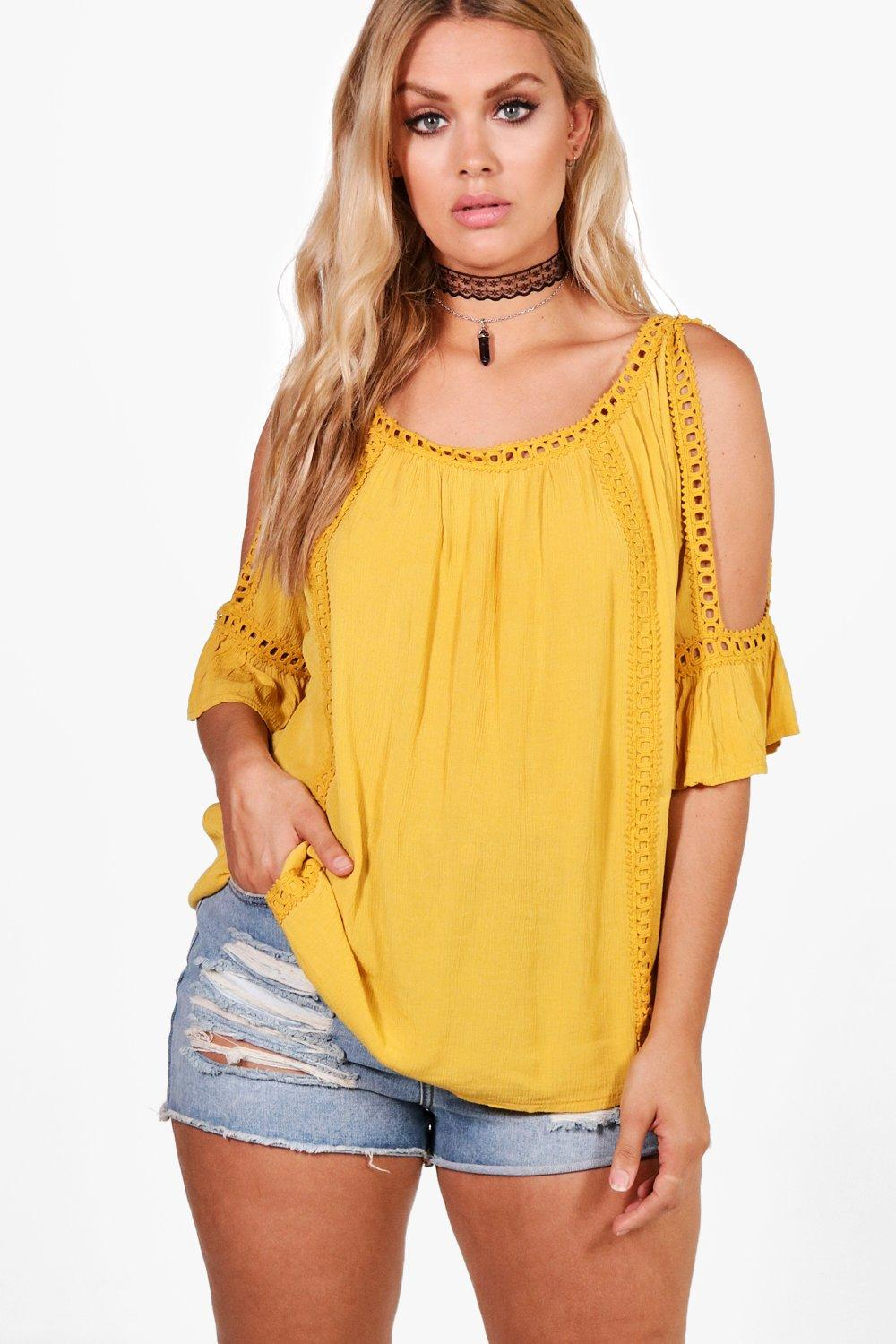 Plus Bianca Cold Shoulder Crochet Trim Top