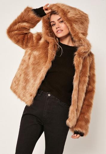 Camel Hooded Faux Fur Coat