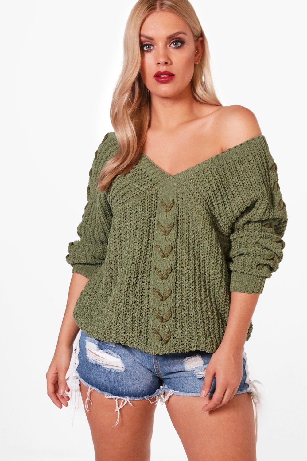 Plus Lena Lace Up Sleeve Cable Knit Jumper