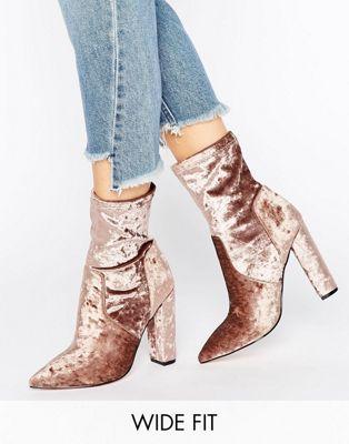 ASOS ELBA Wide Fit Velvet Pointed Sock Boots